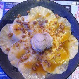 carpaccio ananas sauce caramel glace rhum raisins